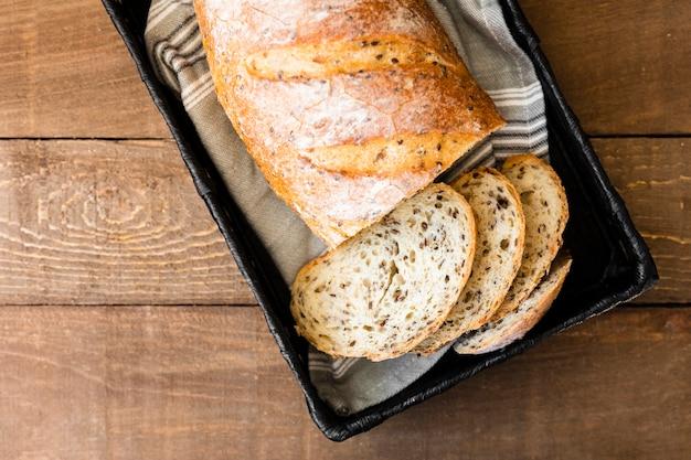 Vista dall'alto deliziose fette di pane