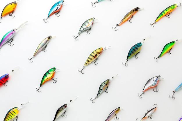 Vista dall'alto dell'assortimento colorato di esche di pesce