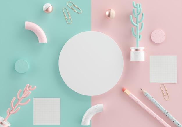 Vista dall'alto della circolare bianca con copia spazio per testo, cactus, graffetta, nota, sfera, matita e oggetti geometrici su sfondo pastello.