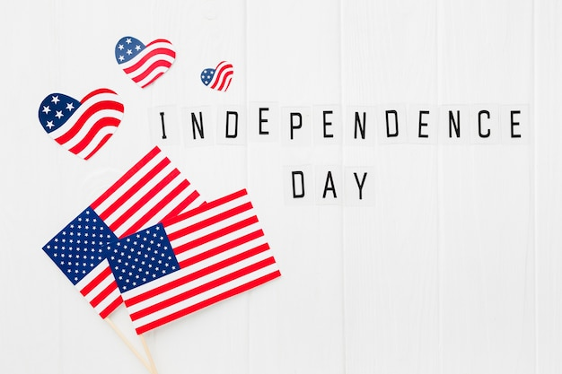 Vista dall'alto delle bandiere americane festa dell'indipendenza