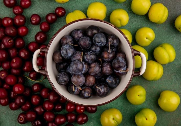 Vista dall'alto delle piccole prugnole di frutta blu-nere acide su una casseruola con ciliegie rosse e prugne ciliegia verdi isolate su uno sfondo verde