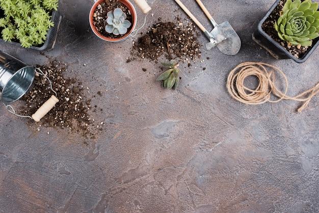 Vista dall'alto di attrezzi da giardinaggio con spazio di copia