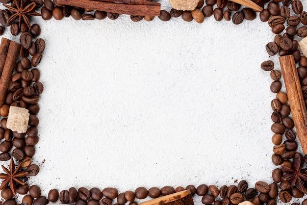 Vista dall'alto di caffè con spazio di copia