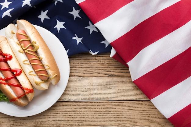 Vista dall'alto di delizioso cibo americano