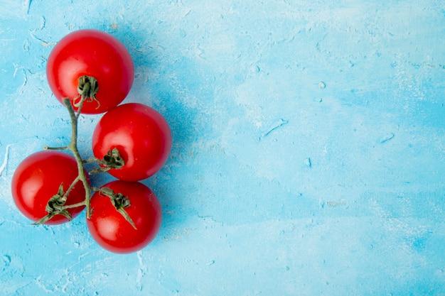 Vista dall'alto di interi pomodori sul lato sinistro sulla superficie blu