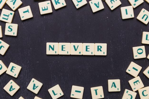 Vista dall'alto di mai testo con lettere scrabble su sfondo nero