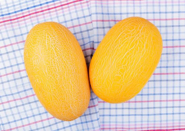 Vista dall'alto di meloni su sfondo di panno plaid