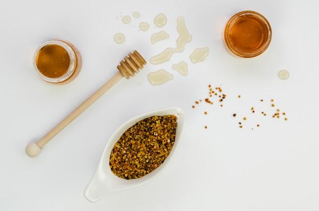 Vista dall'alto di miele fatto in casa