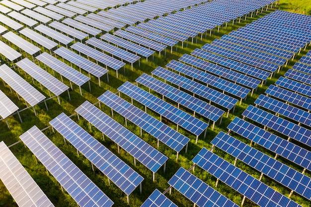 Vista dall'alto di pannelli solari (celle solari) in fattoria solare con albero verde
