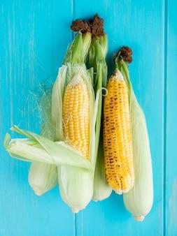 Vista dall'alto di pannocchie di mais sulla superficie blu 2