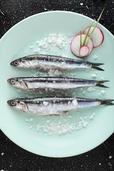 Vista dall'alto di pesce sulla piastra con sale e ravanello