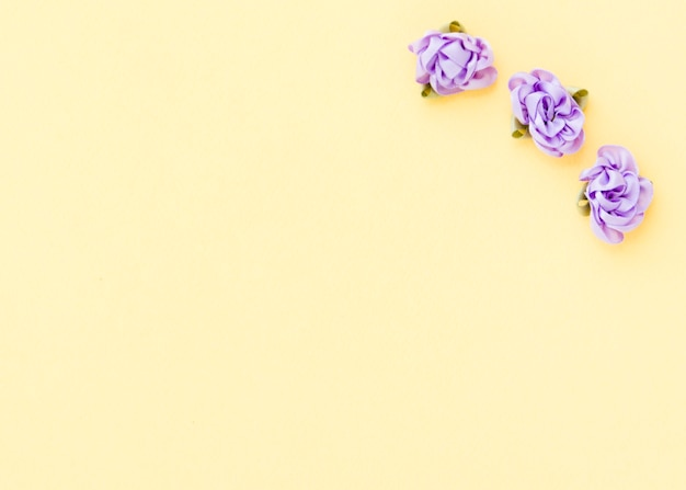 Vista dall'alto di rose tessili con spazio di copia