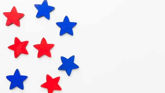 Vista dall'alto di stelle con copia spazio per la festa dell'indipendenza