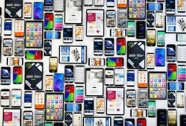 Vista dall'alto di tablet e smartphone