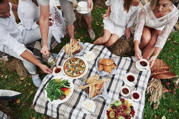 Vista dall'alto di un gruppo di amici di famiglia cenare all'aperto con alcuni buoni stuzzichini
