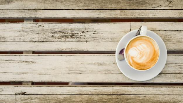 Vista dall'alto di una tazza di caffè