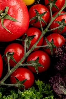 Vista dall'alto di verdure come basilico coriandolo e pomodori