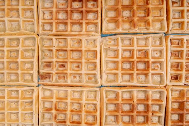 Vista dall'alto di waffle disposti