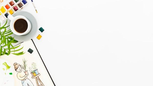 Vista dall'alto forniture di pittura con spazio di copia