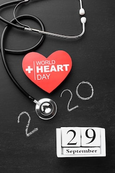 Vista dall'alto giornata mondiale del cuore con stetoscopio