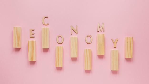 Vista dall'alto grafico economia blocco di legno