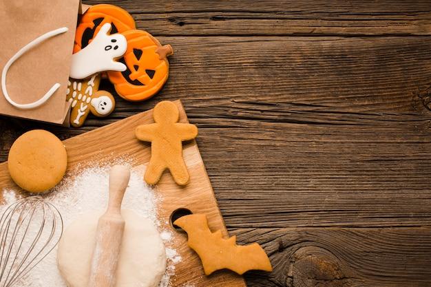Vista dall'alto gustosi biscotti di halloween
