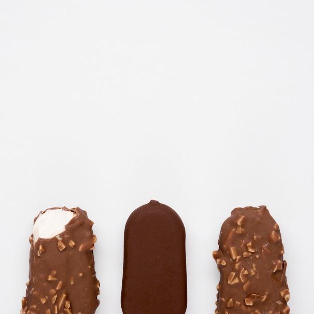 Vista dall'alto gustosi gelati con spazio di copia