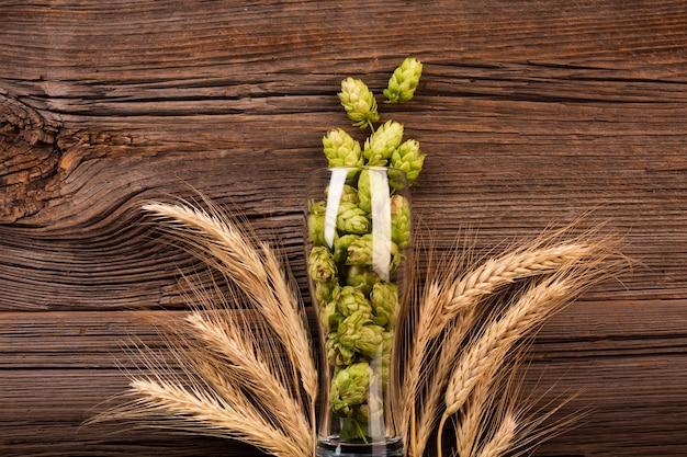 Vista dall'alto luppolo fresco in un bicchiere di birra