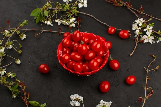 Vista dall'alto pomodori freschi freschi maturi all'interno del piatto rosso sul buio