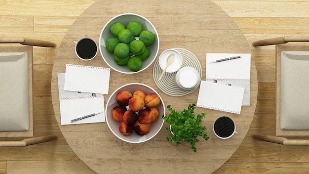 Vista dall'alto sala da pranzo o ristorante design minimal - rendering 3d