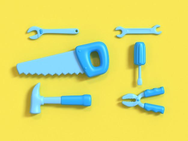 Vista dall'alto set di strumenti 3d gruppo stile cartoon sfondo giallo rendering 3d minimo, strumenti artigiano-tecnico-ingegnere.