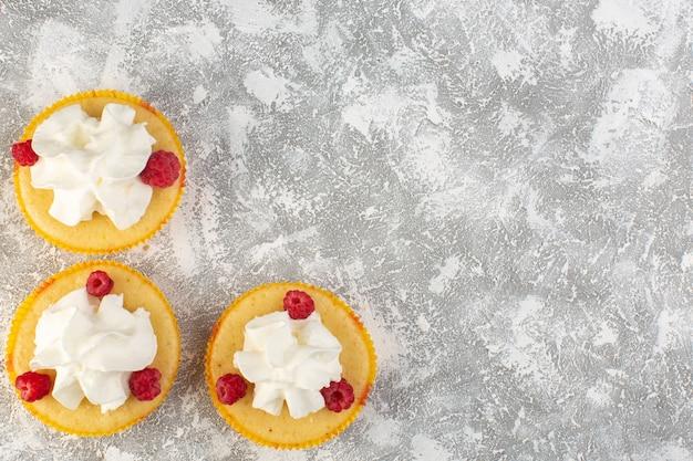 Vista dall'alto torte con crema al forno buonissimo progettato con lampone su sfondo grigio crema di biscotti dolci cuocere