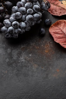 Vista dall'alto uva e foglie copia spazio