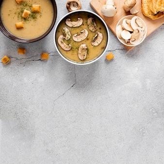 Vista dall'alto zuppa di funghi e crostini
