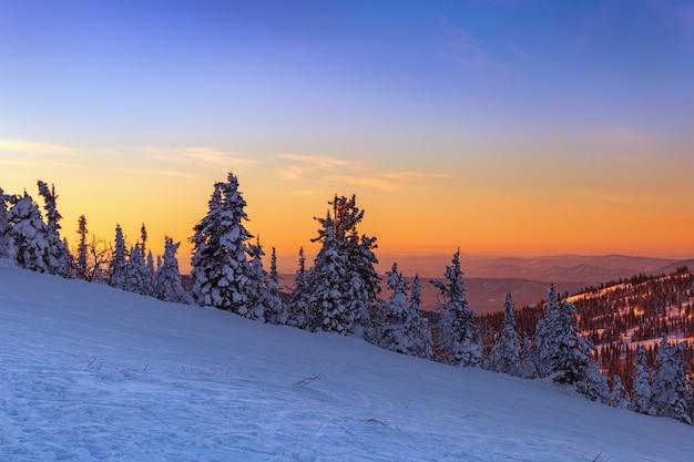 Vista dalla cima della montagna al tramonto. la regione di kemerovo. stazione sciistica di sheregesh. paesaggio invernale al tramonto.
