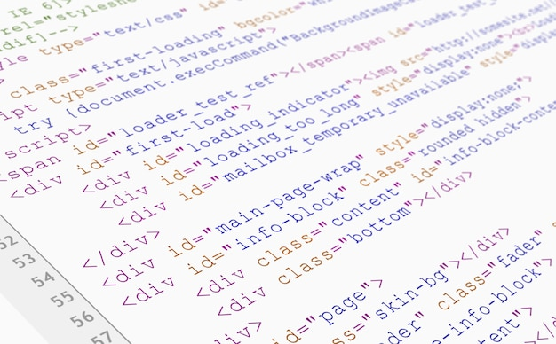 Vista del browser del codice html del sito web stampata su carta bianca, vista del primo piano.