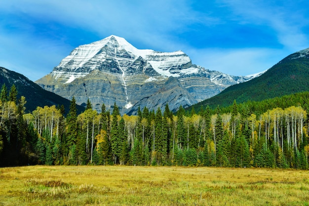 Vista del monte robson, la montagna più alta delle montagne rocciose canadesi, nella british columbia