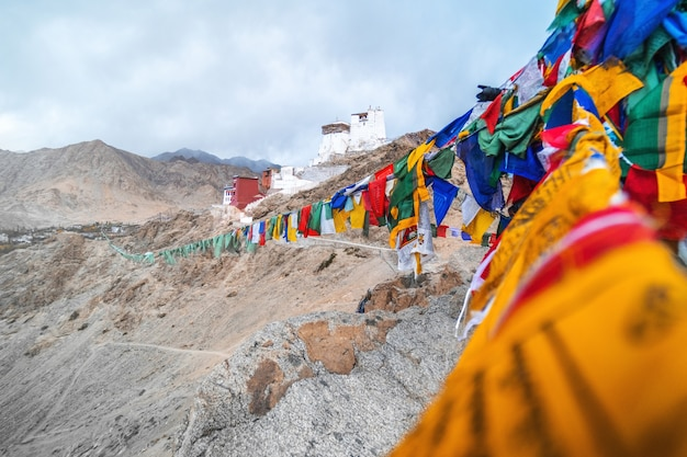 Vista del paesaggio namgyal tsemo gompa a leh, ladakh, india
