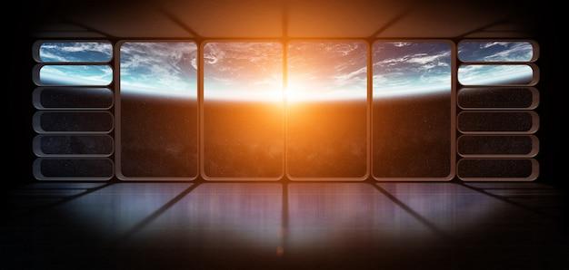 Vista del pianeta terra da un'enorme finestra di astronave rendering 3d