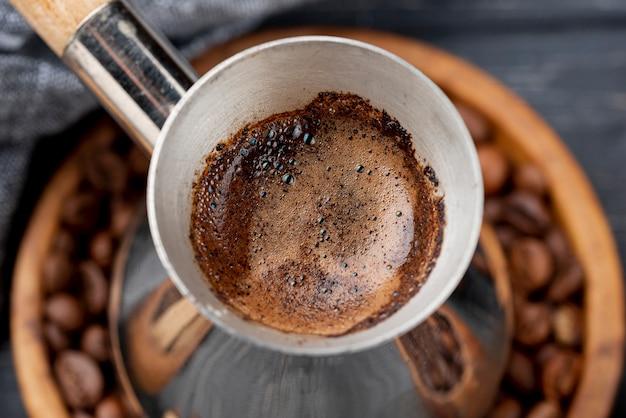 Vista del primo piano del concetto del caffè