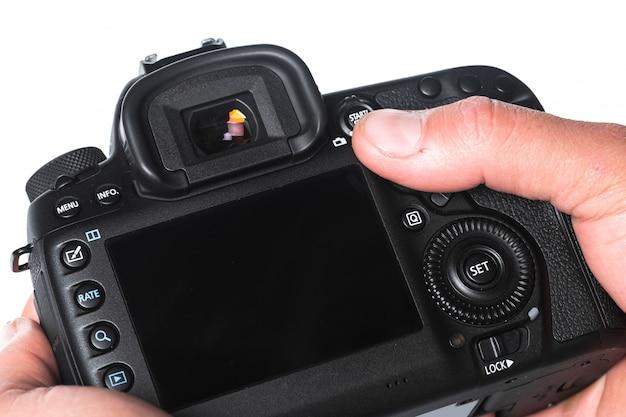 Vista del primo piano della fotocamera digitale