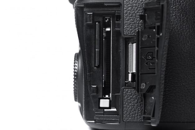 Vista del primo piano della macchina fotografica digitale
