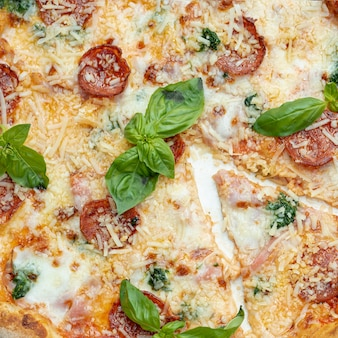 Vista del primo piano di pizza deliziosa con i pomodori e il basilico