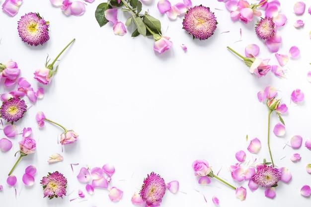 Vista dell'angolo alto dei fiori dentellare su priorità bassa bianca