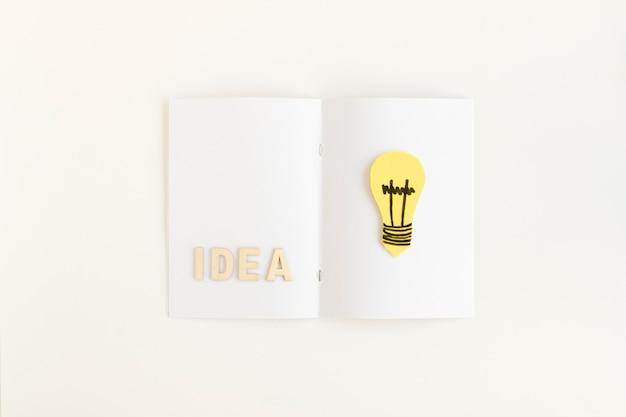 Vista dell'angolo alto del testo di idea e della lampadina sulla carta
