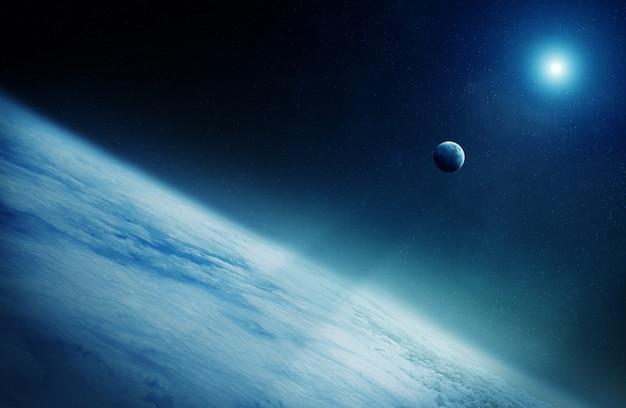 Vista della luna vicino alla rappresentazione del pianeta terra 3d
