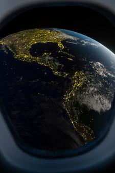Vista della terra dalla finestra dell'astronave. rendering 3d