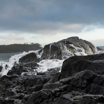 Vista delle rocce sulla costa, pettinger point, cox bay, pacific rim national park reserve, tofino, bri