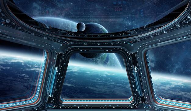 Vista dello spazio esterno da un rendering 3d della finestra di una stazione spaziale
