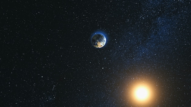Vista dello spazio sul pianeta terra e il sole nell'universo